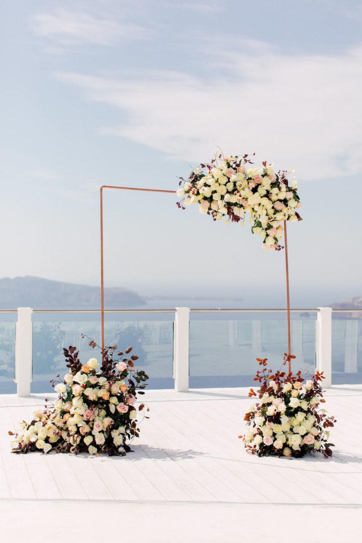 Wedding floral decoration at Rocabella Santorini