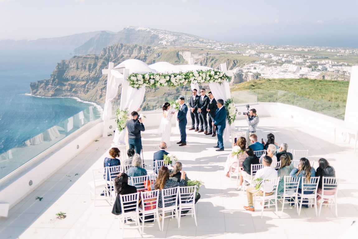 Caldera view wedding in Santorini