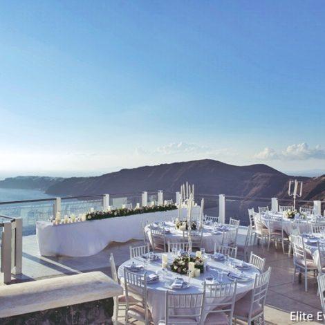 santorini wedding venue with caldera view