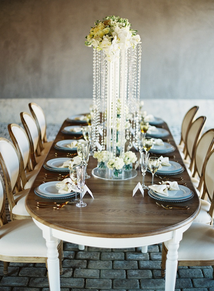 Tall crystal centerpiece Athens wedding