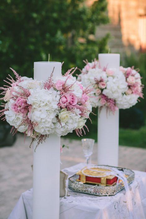 Λαμπάδες γάμου με ορτανσίες
