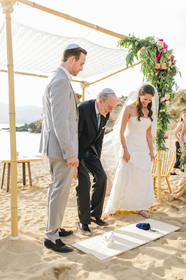 Boho wedding arch for ceremony at the beach