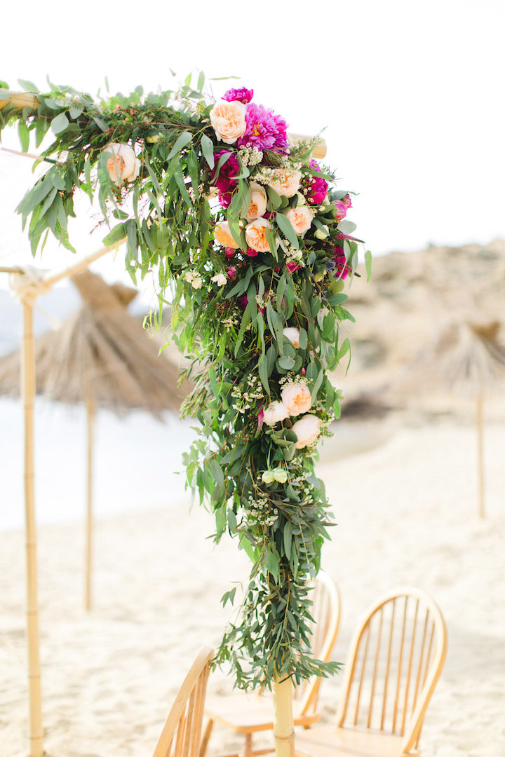 Bohemian wedding ceremony arch Mykonos