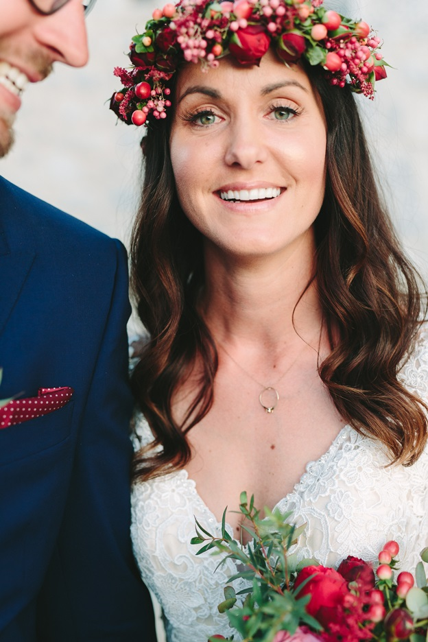 Burgundy theme wedding flower decoration in Greece
