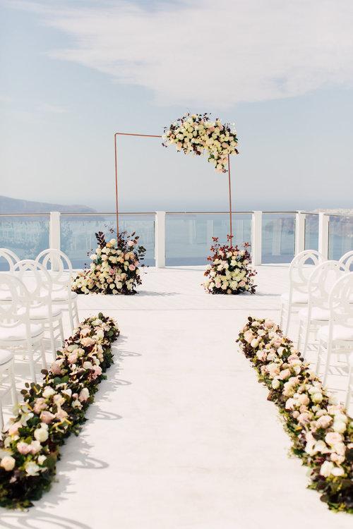 Ceremony arch in Santorini Greece