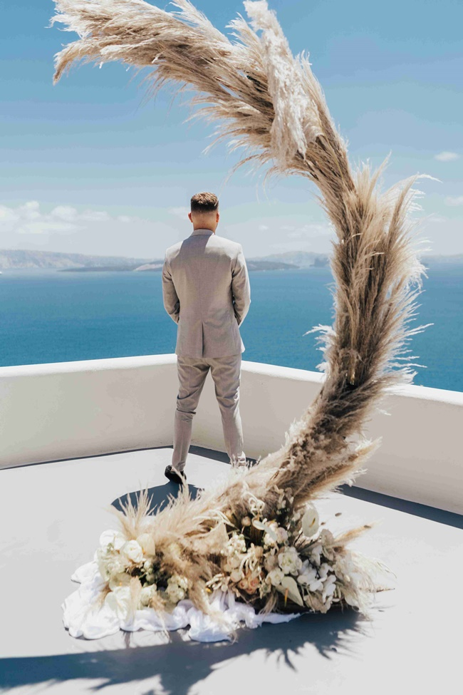 Ceremony arch in Santorini Greece
