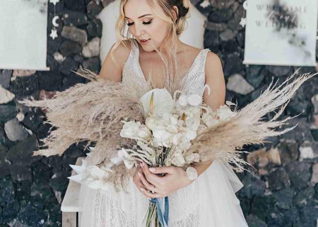 Boho bridal bouquet Santorini Greece