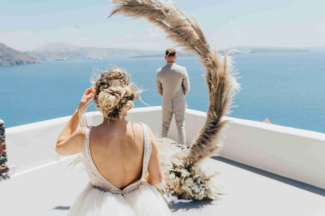 Wedding floral decoration at Canaves Oia Santorini