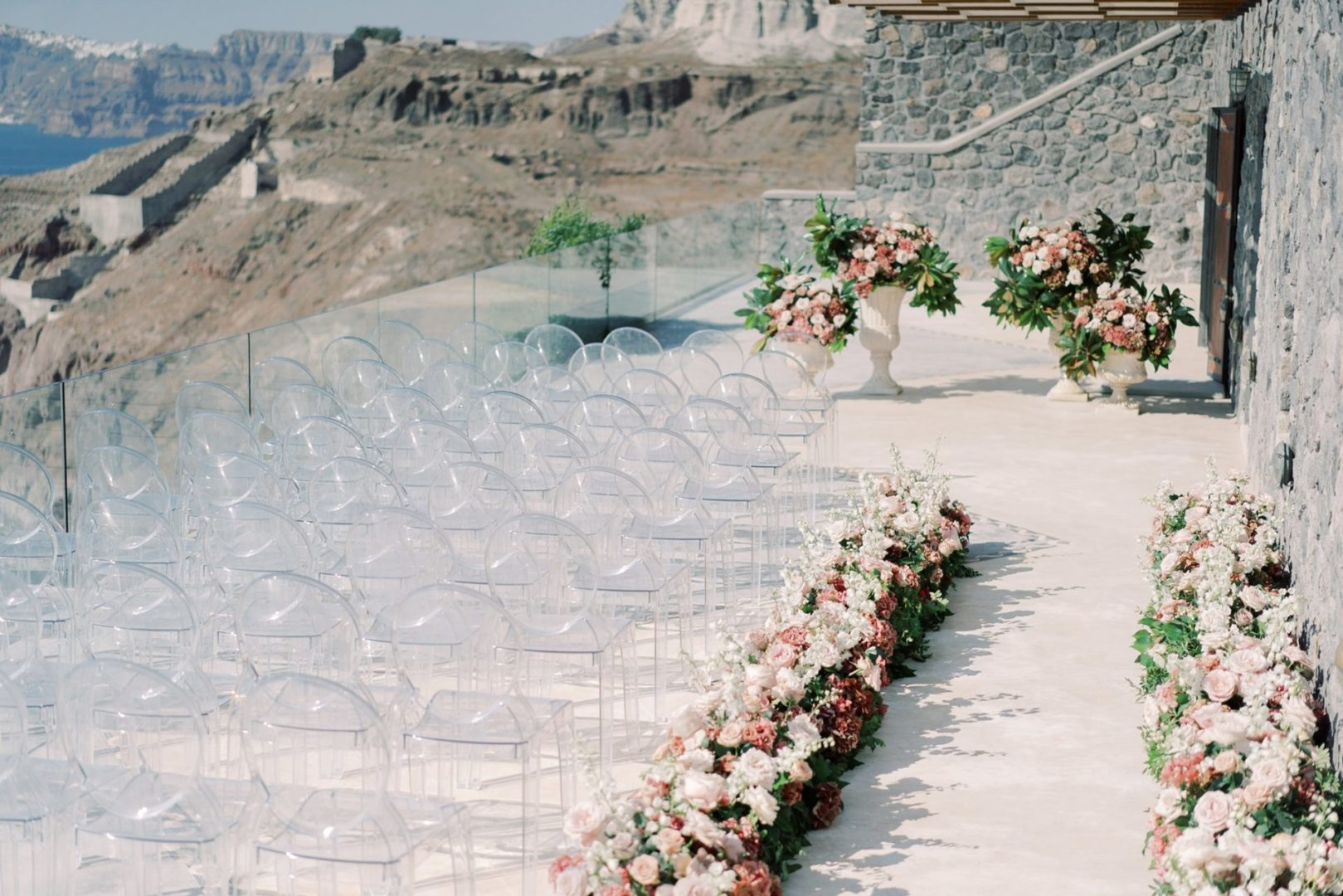 Wedding ceremony flower decoration in Santorini