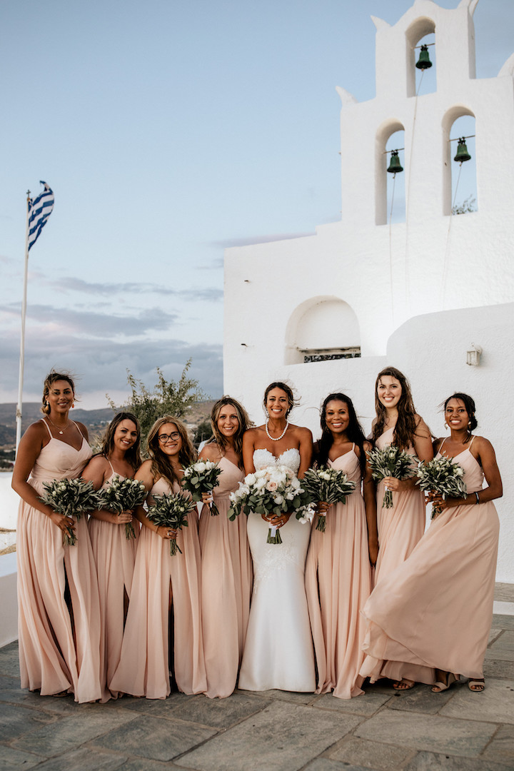 Bridesmaids bouquets for Ios Greece