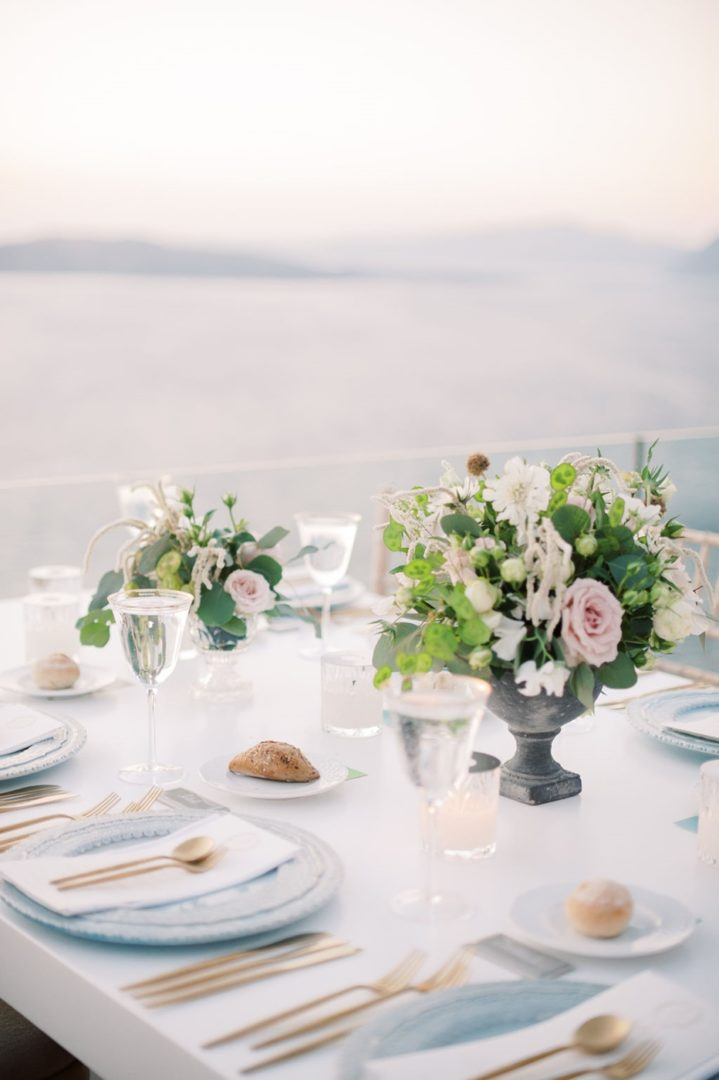 Wedding flowers in Santorini island