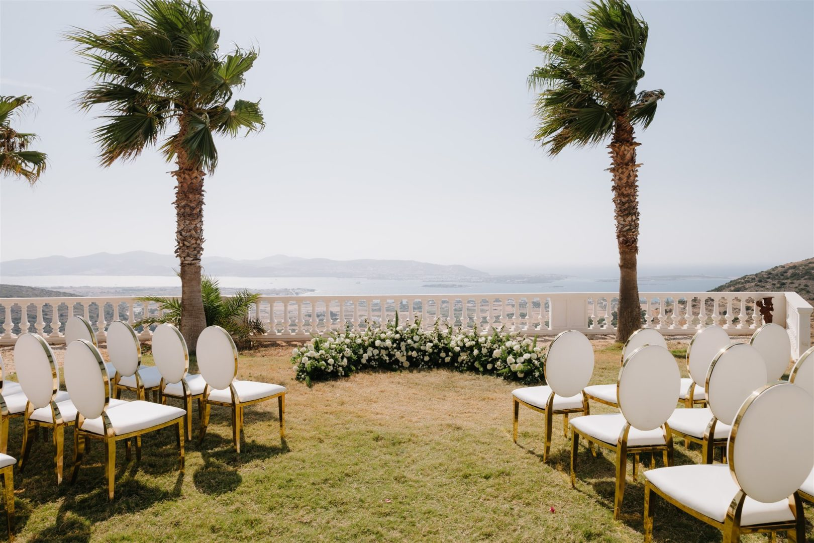 Wedding floral decoration at Villa Aethra, Paros, Greece