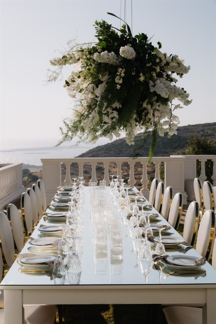 Wedding floral decoration at Villa Aethra, Paros Greece