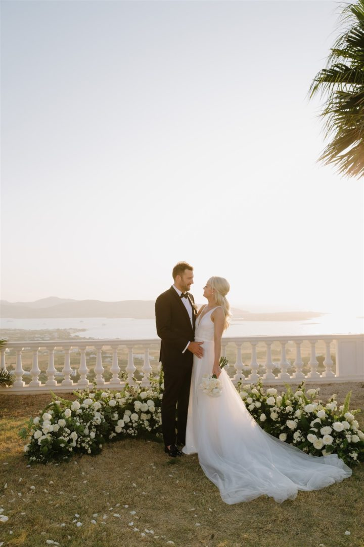 Summer wedding flower decoration in Greece