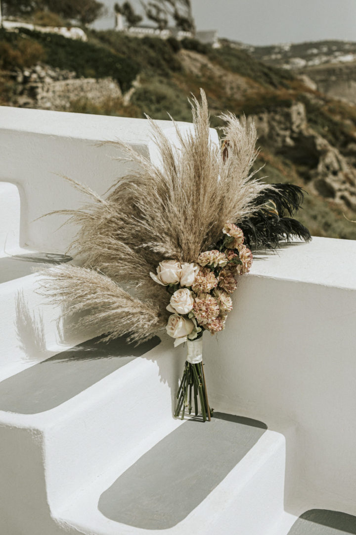 Birdal bouquet with pampass grass Santorini