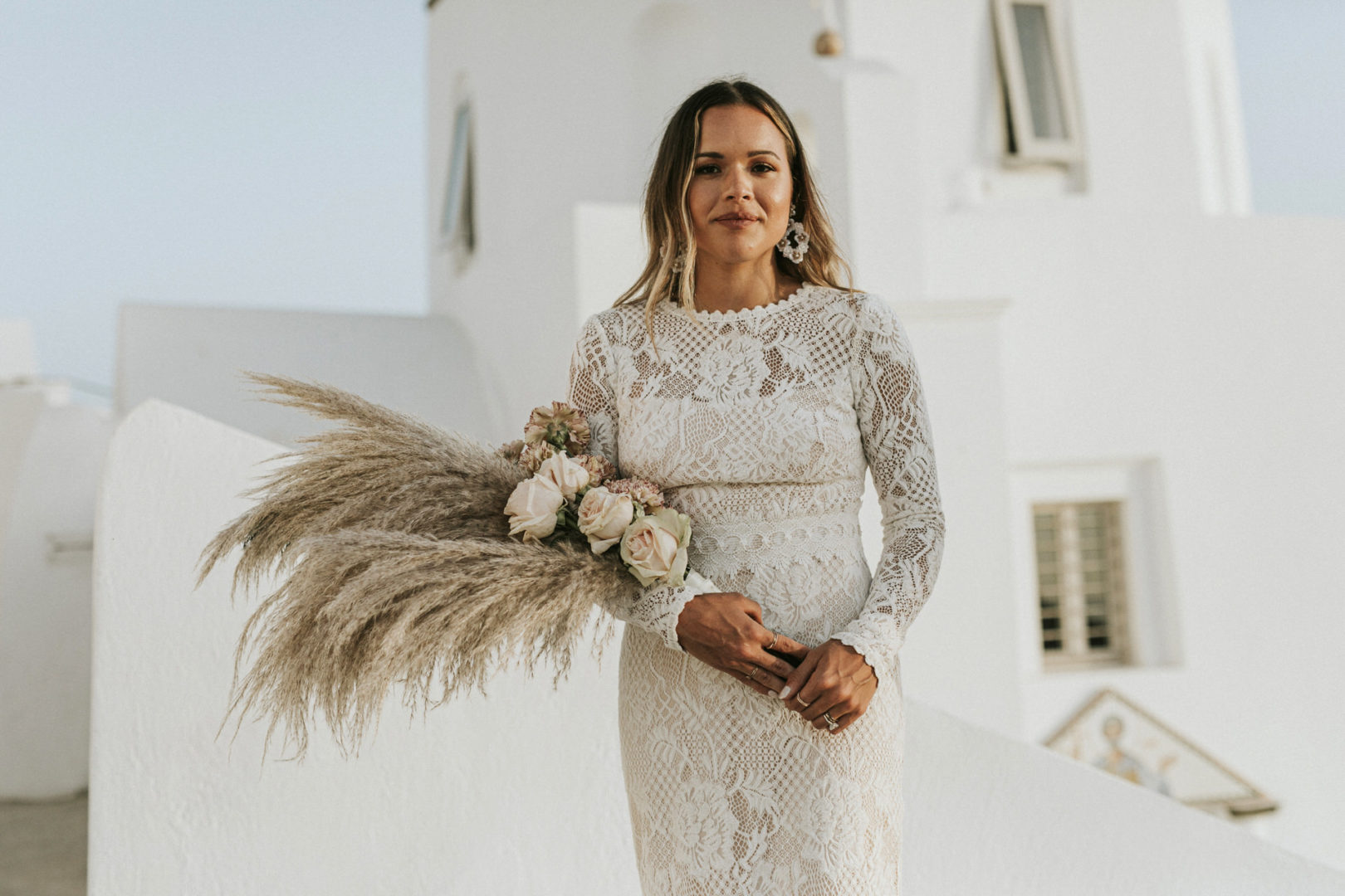 Bridal bouquet with pampass grass Santorini