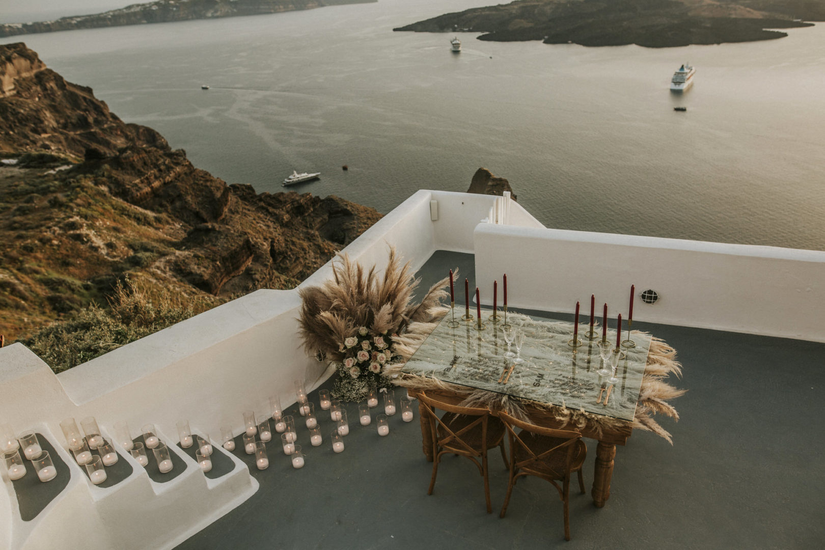 Wedding floral decoration at Cavo Ventus Santorini