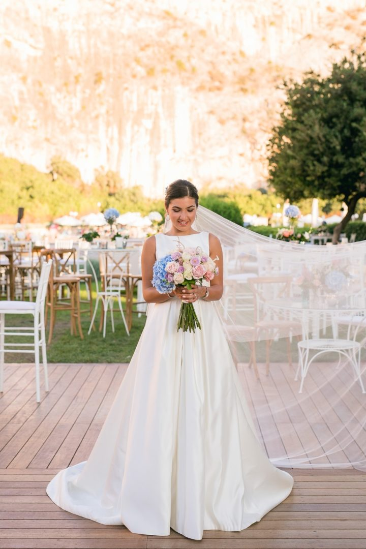 Bridal bouquet with hydrangeas at Lake Vouliagmeni