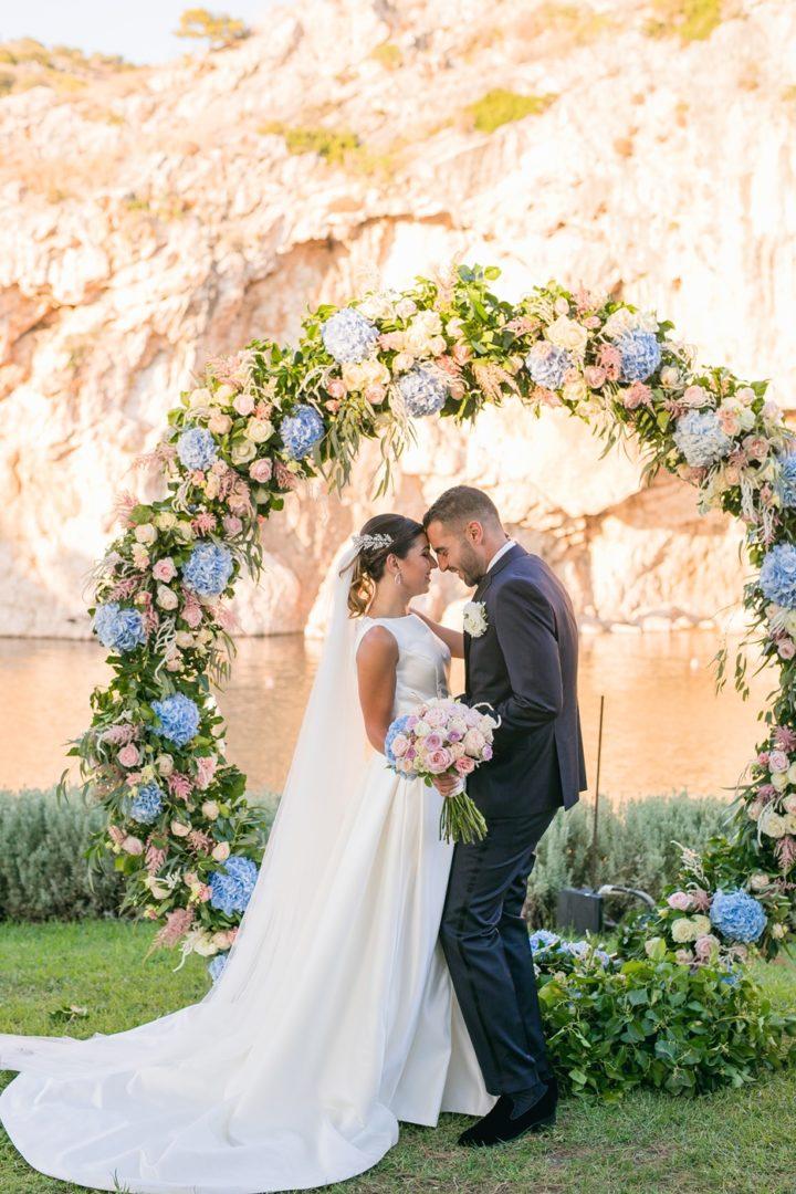 Wedding arch with hydrangeas in Athens Greece