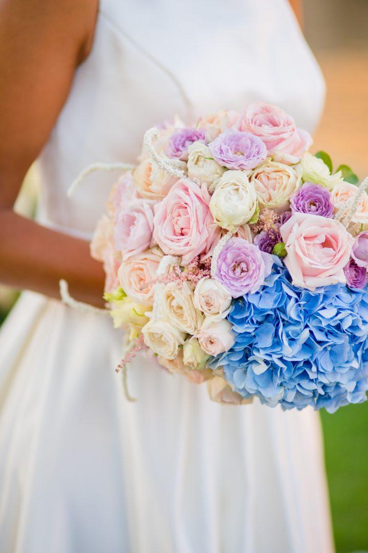 Bridal bouquet at Lake Vouliagmeni, Athens Greece