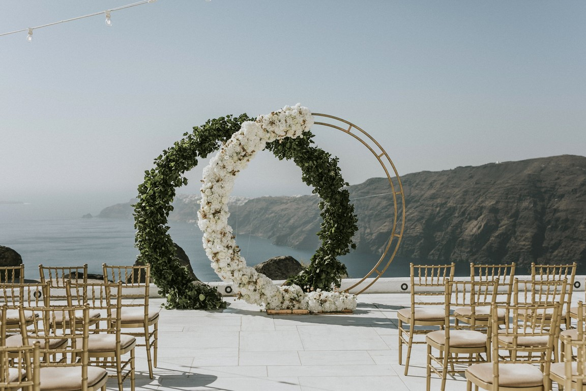 Flower arch at Rocabella Santorini
